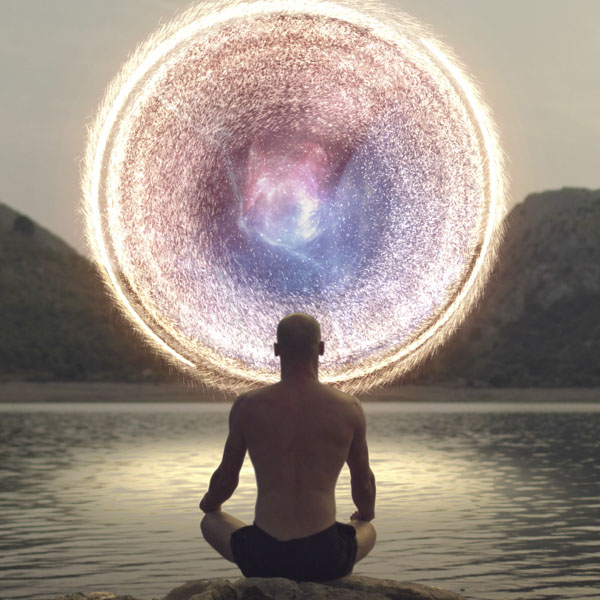 Man opening up portal to other dimension