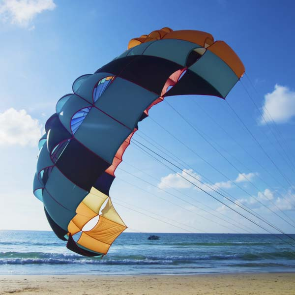 Parachute landing on beach