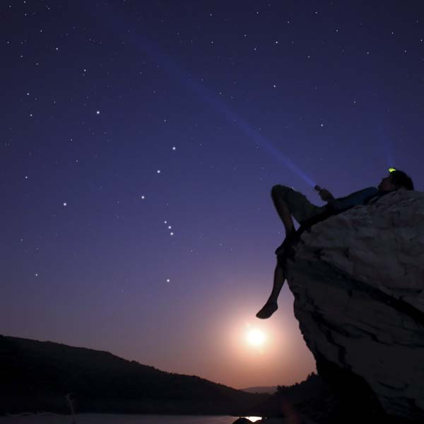 Shining flashlight into space