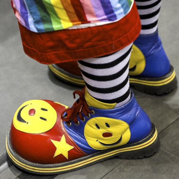 Happy face clown shoes