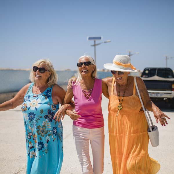 Senior friends at the beach