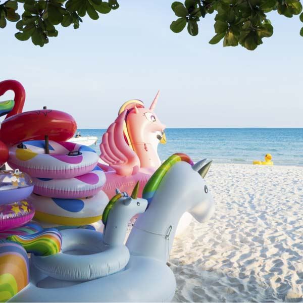Unicorn inflatables looking at duck inflatable