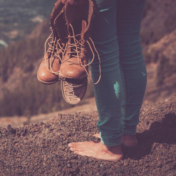 Hiker's boots falling apart