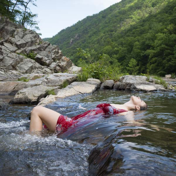 Woman in river