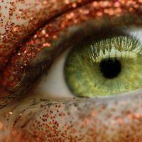 Orange glittery eye
